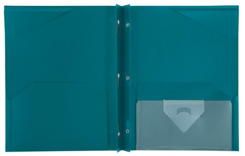 """Five Star 2-Pocket Folder, Stay-Put Folder, Plastic Colored Folders with Pockets & Prong Fasteners for 3-Ring Binders, For Home School Supplies & Home Office, 11"""" x 8-1/2"""", Teal (72107) Photo #2"""