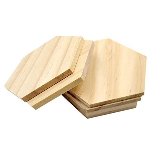 HEALLILY 25 Stück 9 mm sechseckige Holzformen, unlackierte Holzausschnitte, sechseckige Holzscheiben, DIY-Projekte, Geschenkanhänger, Ornamente (9 cm)