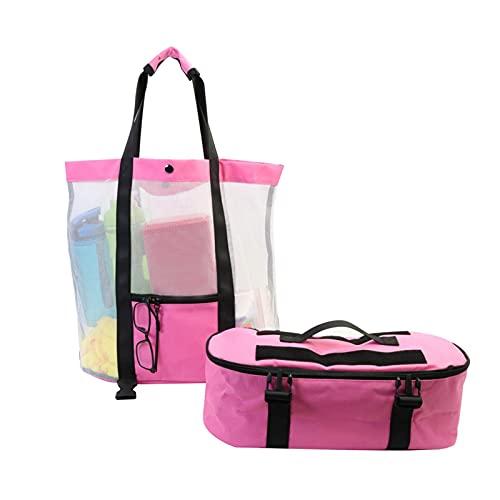 ALEOHALTER Bea-ch Bag 2 en 1 plegable playa malla bolsa para toalla ropa Tote gran capacidad juguetes almacenamiento (rosa)
