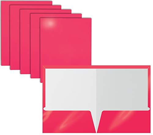 2 Pocket Glossy Laminated HOT Pink Paper Folders, Letter Size, 25 Pack, Hot Pink Paper Portfolios by Better Office Products, Box of 25 Hot Pink Folders