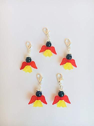 5 WM Perlenengel mit Karabinerhaken, handmade, Schutzengel, Anhänger, Glücksbringer, Deutschland, schwarz rot gold
