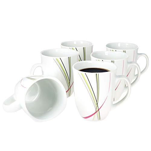 Van Well I 6er Set Kaffeebecher Fashion I 6 Personen I 300-350 ml I große-Tasse I Becher kantig I Tee-Pott I abstrakte Streifen pink-grün-grau-schwarz I Porzellan-Geschirr