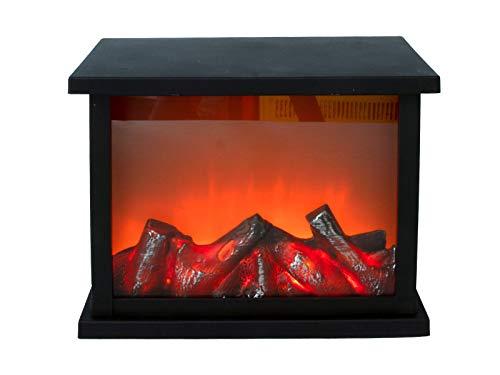 Spetebo Kaminlaterne 27x21 cm mit tanzenden LED Flammen und Timer - Kaminfeuer LED Flammeneffekt LED Kamin Feuer Laterne Batterie betrieben