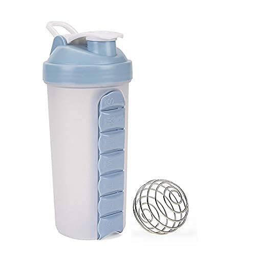 N?A 600ml Water Bottle with 7 Pill Box compartments and Shaker, Weekly Vitamin Holder, Daily Medicine Organizer, 7 Days Travel Medication Dispenser 2 in 1 – Includes Shaker. (Gray)