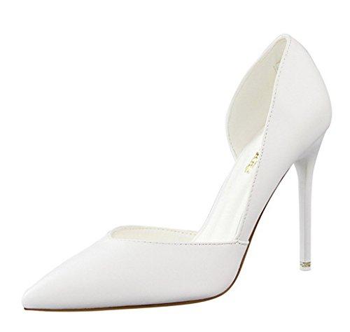 Minetom Donna Scarpe Col Tacco Stiletto Scamosciato Semplice Pump Shoes Elegante Partito Di Sera Sandali Scarpe Bianco EU 37