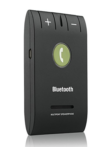 JEBSENS - Premium X9 Bluetooth V4.0 Sun Visor Speakerphone Hands Free Car kit - Connect up to two Phones, Compatible with Any Mobile Phone with blue tooth connection - Black