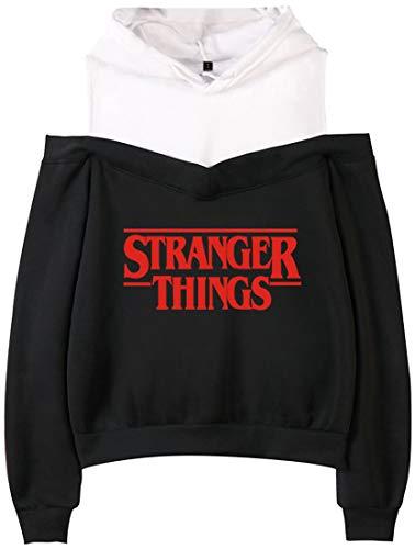 EMILYLE Donna Fuori-Spalla Felpa con Cappuccio Season 3 Stranger Things Demogorgon Days Eleven Logo Hoodie
