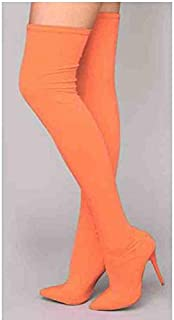 5de6a92103e ASILETO INS Over Knee Thigh high Boots Candy Color Stretch Pointed Toe  Stiletto Thin high Heels