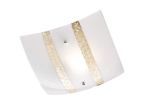 Exclusieve LED plafondlamp hoekig 30x30cm DIMBAAR met gesatineerde lampenkap van glas in wit met goudkleurige decoratieve strepen