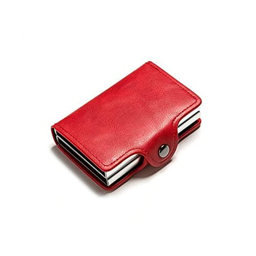 Liangsujianmqb Carteras para Hombre, Hombre Cartera Doble Cajas Titular de Tarjeta Bloqueo Anti-Robo PU Caja de Dinero de Viaje de Billetera de Cuero (Color : Red)