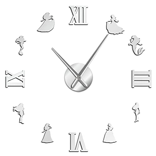 xinxin Relojes de Pared Sirena y Princesa DIY Reloj de Pared Estilo de Cuento de Hadas Reloj de Pared sin Marco Decoración de habitación...