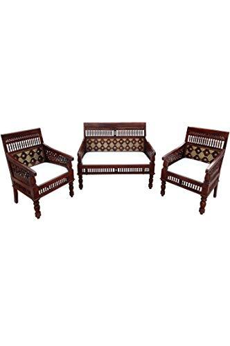 3er SET Orientalische Lounge Sitzecke aus Holz Zanubia | Marokkanische Sitz-Gruppe Sofa 2 Sitzer Zwei Sessel und ein Couchtisch Outdoor im Garten Balkon oder Indoor im Wohnzimmer | 3 Teilig
