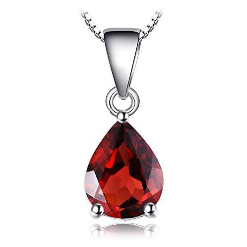 JewelryPalace Birne 2.2ct Natürlicher roter Granat Birthstone Solitaire Anhänger 925 Sterling Silber