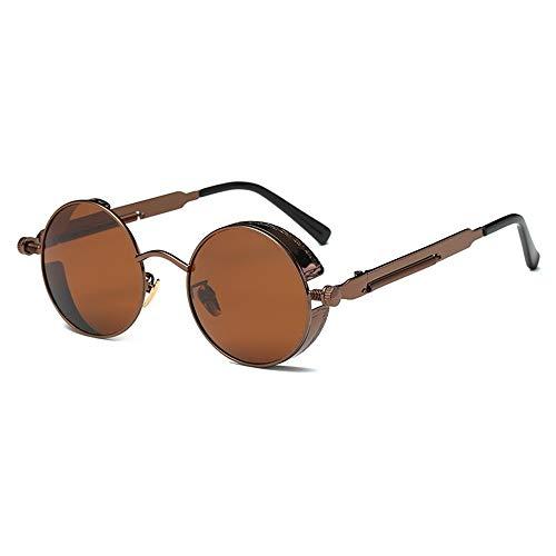 SWNN Sunglasses Gafas Redondas Polarizadas Retro Marrón/Dorado Gafas De Sol for Hombres Y Mujeres Correr Pesca Steampunk Viento (Color : Brown)