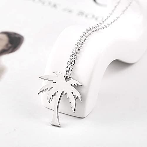 KONZFK collarRiendo Mujer Elegante Collar de Palmera Dorada de Acero Inoxidable Collares con Colgante de Coco joyería de Planta Minimalista