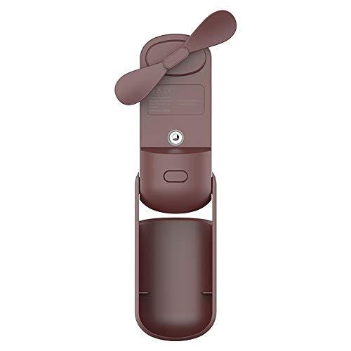 GUODONG - Ventilador portátil pequeño QW-F11 mini plegable de mano humidificador de escritorio con control de 3 velocidades (color: marrón)