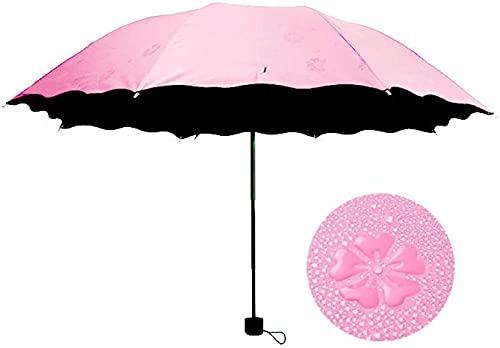 JUST ALONE Ombrelloni Parasole Ombrello Donna Antivento Protezione Solare Moda Fiore Magico Cupola Ombrelli Pieghevoli Impermeabili a Prova di Raggi ultravioletti (Colore : Pink)