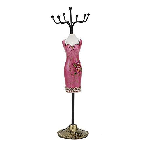 Stojak na biżuterię kolczyki naszyjnik uchwyt stojak pani dziewczyna moda elegancka sukienka wieczorowa stojak na biżuterię (róża czerwony cheongsam)