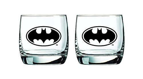 Batman Whiskey Glasses - 10 oz. Capacity - Classic Design - Heavy Base
