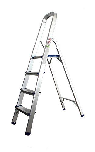 Alu Haushaltsleiter 4 Stufen Klappleiter Mehrzweckleiter Trittleiter Stehleiter