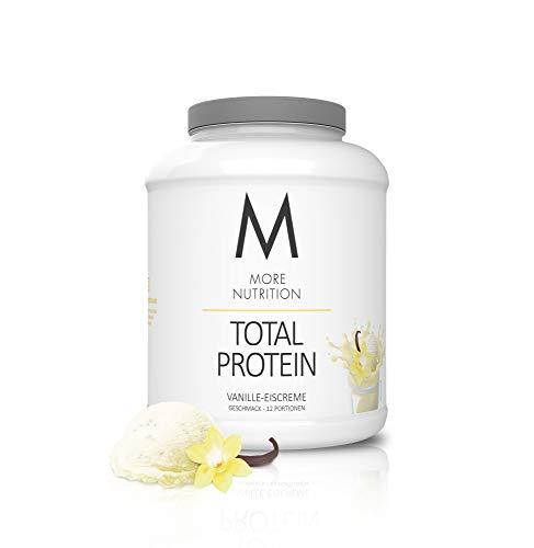 MORE NUTRITION Total Protein (1 x 600 g) - Whey Eiweißpulver mit Casein, Aminosäuren und Laktase für Muskelaufbau (Vanille-Eiscreme)