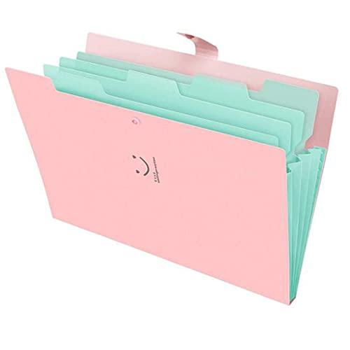 Nordun Cartella Portadocumenti Espandibile A4,5 Tasche Cartelle da File Fisarmonica Documenti con Bottone Scatto,Portatile Porta Documenti sorriso Stoccaggio Organizzatore per Ufficio, Scuola, Viaggi