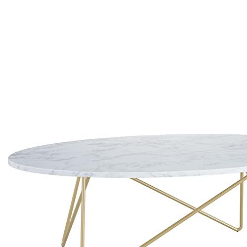 ZOYAFA Mesa de café con efecto mármol, color blanco ovalado con marco de metal, 120 x 60 x 41 cm