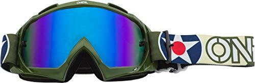 O'NEAL B10 Warhawk Goggle MX DH Brille grün/Sandfarben/Radium blau Oneal