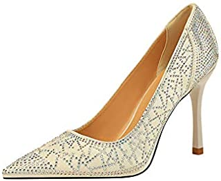 2020 new party satin high-heeled shallow mouth pointed sexy slim rhinestone single shoes large size women's shoes