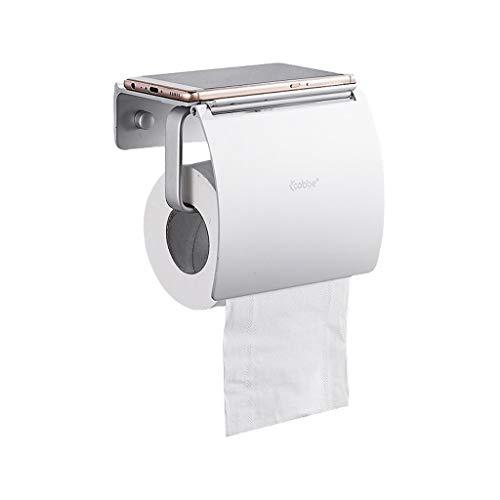 GFFTYX Portarrollos de Papel higiénico de Pared con Estante y Tapa para teléfono, Soporte para Rollo de Papel higiénico, Aluminio Espacial, no se oxida, 14x9 x12,5 cm