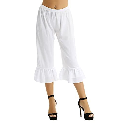 iiniim Women Victorian Pantaloons Ruffle Bloomers Steampunk Pirate Cosplay Costume Cropped Pants White X-Large