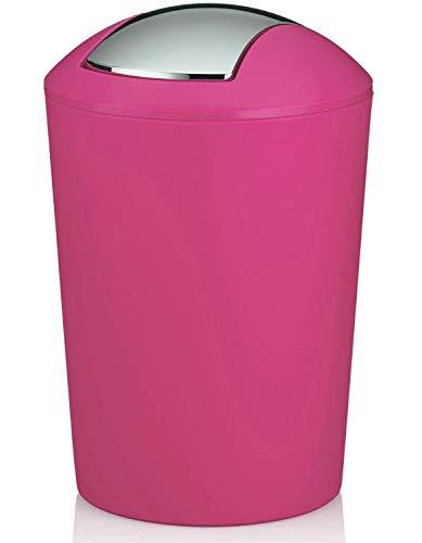 MERCURY TEXTIL - Papelera con Tapa oscilante, Cubo de Basura para baño de plástico (1,7 litros, Fucsia)