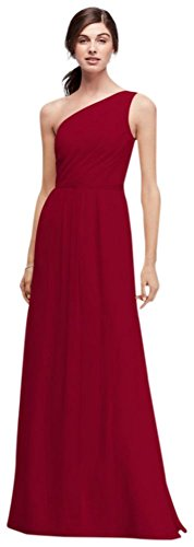 Side-Ruched One-Shoulder Bridesmaid Dress Style POB17003, Apple, 26