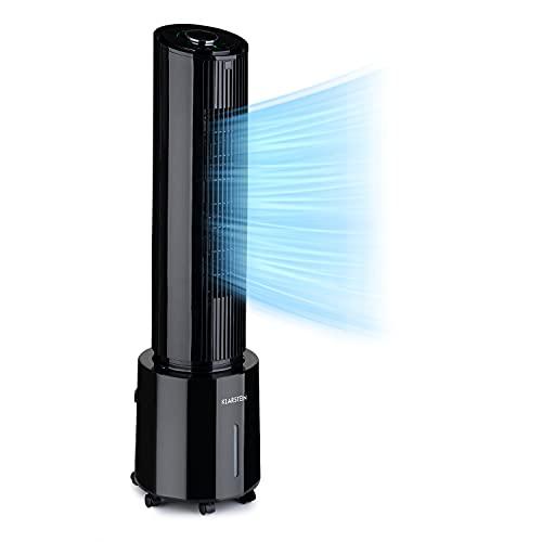 Klarstein Waterfall - Enfriador de aire portátil, Ventilador, Humidificador, Caudal de aire 400 m³/h, Potencia 45 W, Depósito 4 L, 2 acumuladores de frío, Oscilación de 90°, Filtro de polvo, Negro
