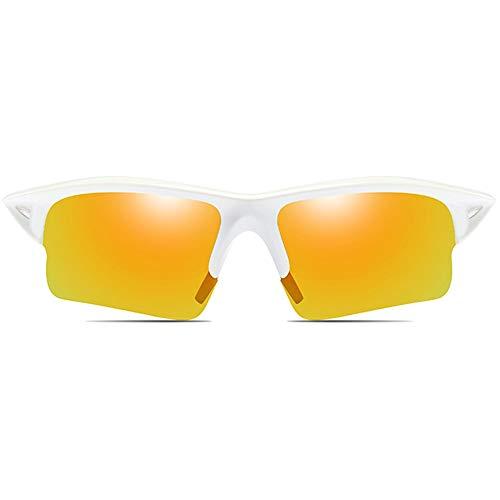 KK Timo Gafas de sol para ciclismo y deportes al aire libre, material de policarbonato, color azul, blanco, para hombres y mujeres con gafas de sol polarizadas antirreflejos (color: blanco)