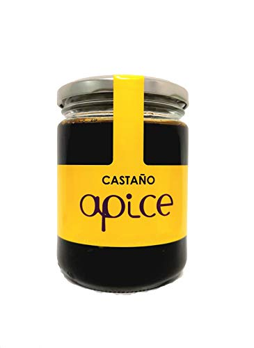 MIEL ÁPICE | Miel de castaño pura 100{bebf5f4693e2b188d08e8fb0962216178caf3408e721ce792da52577eddb4a02} natural | 500 g | Producida en Galicia | Miel gallega sin conservantes, sin calentar y ecológica | Completamente artesanal | Miel de Galicia