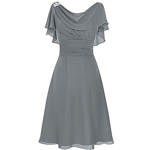 Kleid Für Hochzeit Damen Vokuhila A Linie Schicke Elegant Abendkleider Frauen Rückenfrei Volant Schlicht Kleider