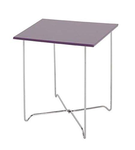 Beistelltisch aus Stahl in chrom, Ablage hochglanz brombeer, Haku 33890