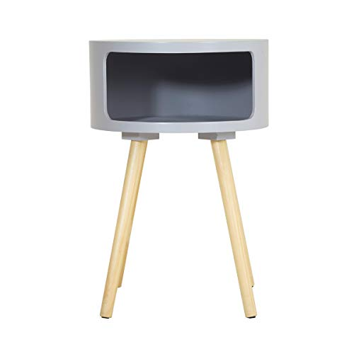 Charles Bentley Wooden Side Table with Pine Legs and Storage Shelf Grey Bedside