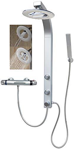 Duschpaneel Brausepaneel Duschsäule Duschsystem Thermostat Armatur große Wasserfall Regendusche mit 2 Massagedüsen, aus hochwertigem Kunststoff Handbrause Duschkopf Duscharmatur Wandmontage