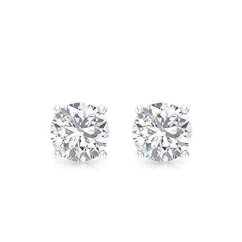 Aretes de oro con diamante certificado IGI de 0,5 ct, solitario redondo, para mujer, IJ-SI, claridad de color, para boda, para adolescente, tornillo hacia atrás