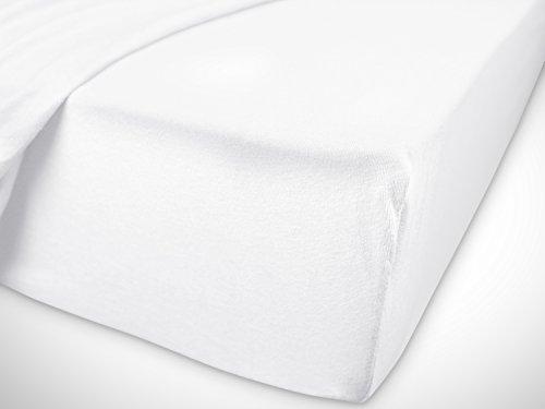 npluseins klassisches Jersey Spannbetttuch – erhältlich in 34 modernen Farben und 6 verschiedenen Größen – 100% Baumwolle, 70 x 140 cm, weiß - 7