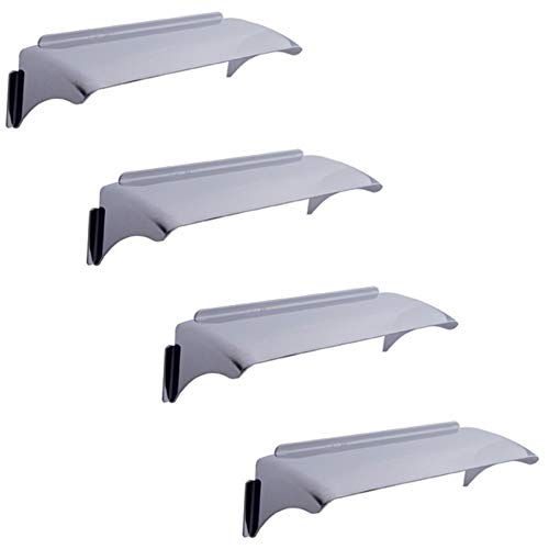 Octane Lighting 4X6 Polished Stainless Steel Metal Headlight Lamp Visors Cover Shields Set of 4 for: H4656 H4651 4651 4652 Car Truck (4)