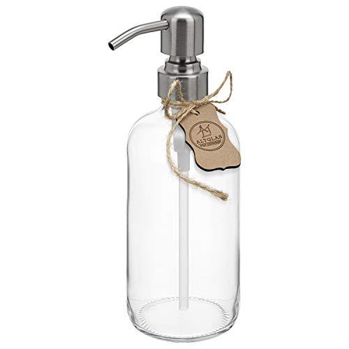 Dispenser per sapone liquido 'Sarajevo' in vetro cristallo, bottiglia di vetro da 500 ml, per sapone liquido e lozioni con testa a pompa in acciaio inox in colore argento spazzolato