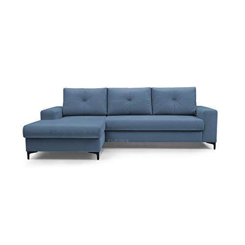 mb-moebel Ecksofa mit Schlaffunktion Eckcouch mit Bettkasten Sofa Couch L-Form Polsterecke EMI (dunkelblau, Ecksofa Links)