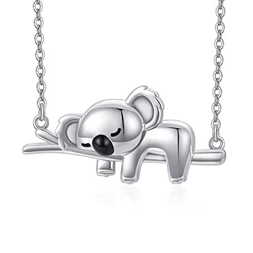 Collar de koala de plata de ley 925, collar con colgante de oso de Koala, joyería de animales bonitos, regalos de koala para mujeres, niñas, novia