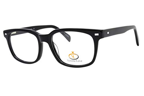 Rx-able Reading Eyeglass Frames, Mens and Women Premium Designer Acetate Hand Made Optical Frame With Rxable Demo Lenses (Classic Black)