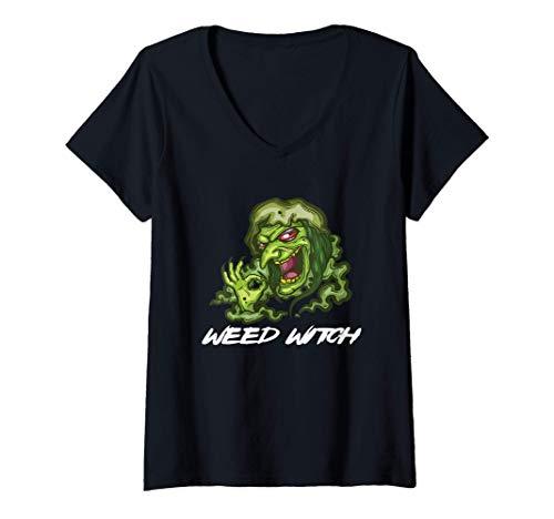 Mujer Halloween Weed Witch Disfraz marihuana cannabis Camiseta Cuello V
