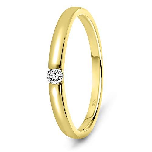 Miore Anillo solitario de compromiso en oro amarillo 8 quilates 333/1000 con diamante natural talla brillante de 0,05 quilates