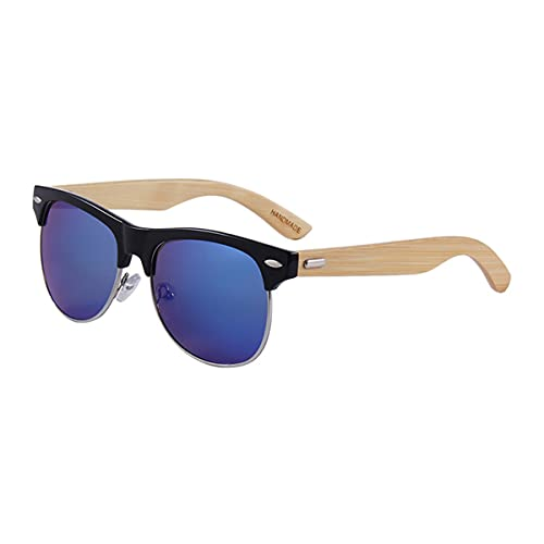 LGQ Gafas de Sol de Madera de bambú de Moda, Gafas de Sol de Medio Marco de Metal para Hombres y Mujeres, adecuadas para Viajes, Deportes al Aire Libre,C8